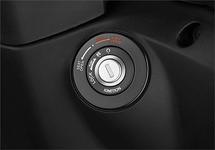 Destini 125 gets has a multi-function key slot which also opens the external fuel-filler cap.
