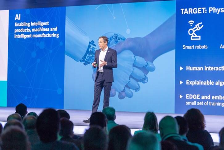 Bosch CEO Dr. Volkmar Denner on stage at the Bosch ConnectedWorld 2020 in Berlin.