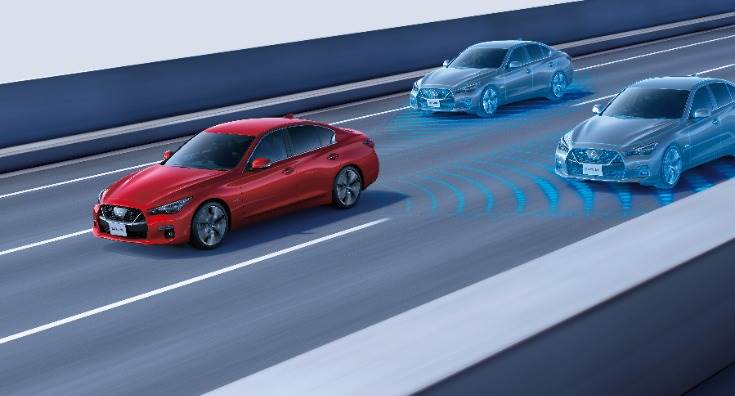 New Nissan Skyline employs ProPILOT 2.0 tech – the world's first driver assistance system to combine navigated highway driving with hands-off single-lane driving capabilities. ZF's Tri-cam tech supports ProPILOT 2.0.