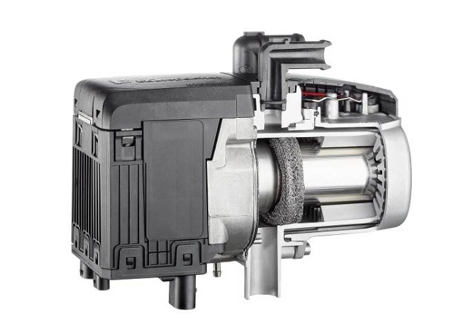 The Eberspaecher Hydronic S3 InCat heats in a fuel-efficient manner and produces low emissions thanks to the integrated catalytic converter.