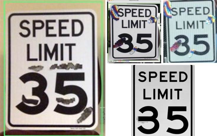 These adversarial stickers cause the MobilEye on Tesla Model X to interpret the 35-mph speed sign as an 85-mph speed sign.