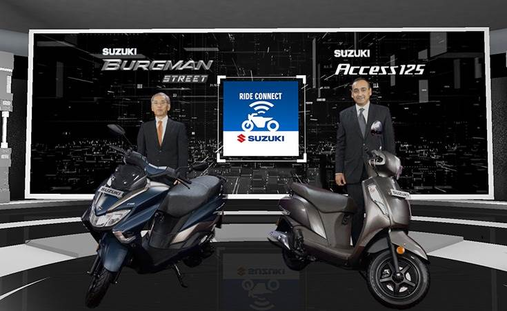 L-R:Koichiro Hirao, MD, Suzuki Motorcycle India andDevashish Handa, vice- president, Sales, Marketing and Aftersales, with the new Bluetooth-enabled Access 125 and Burgman Street.
