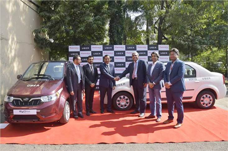 Uber is to induct 50 Mahindra EVs, including the e2o Plus hatchback and eVerito sedan, into its fleet and scale up thereafter.