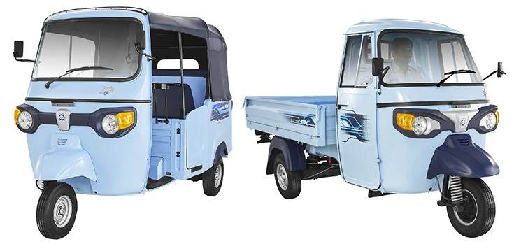 The Ape' Electrik FX passenger and cargo three-wheelers. Piaggio claims a running cost of less than 50 paise a kilometre.