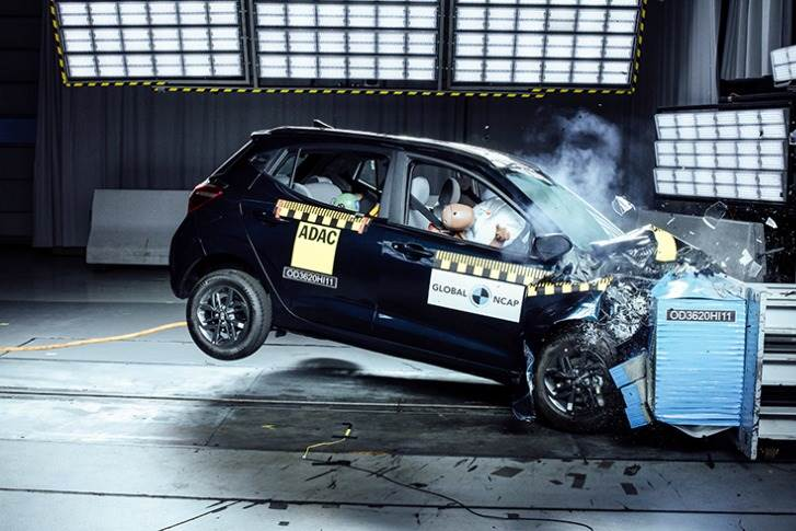 Hyundai's Grand i10 Nios, which has double frontal airbags and pretensioners for both front passengers as standard, got 2 stars for adult occupant protection and 2 stars for child occupant protection