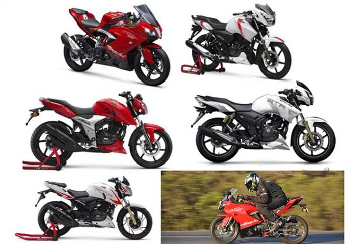 The TVS Apache Series, ranging from 160cc to 310cc, spans the naked and supersports categories.