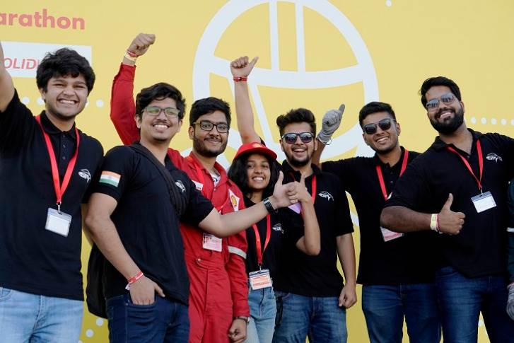 Team DTU E-Supermileage from the Delhi Technological University won the Vehicle Design Award in the Prototype category for their innovative aerodynamic and fuel-efficient vehicle design which includes a carbon fibre (G1CM) body structure.