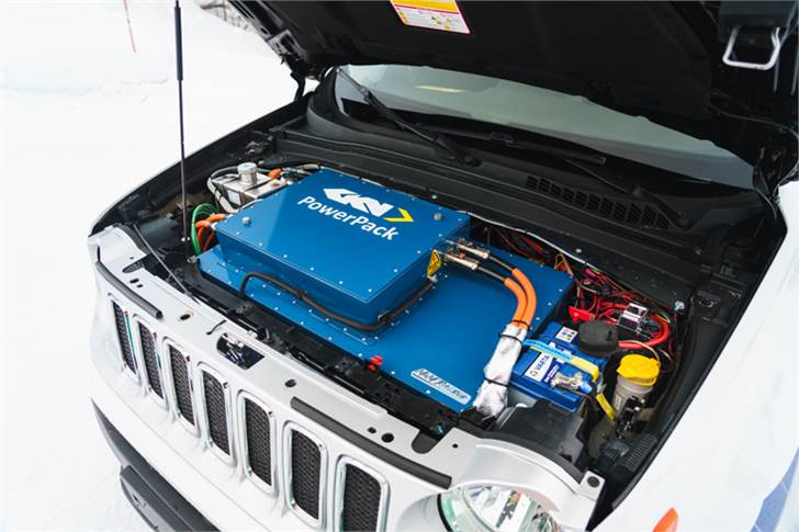 The advanced eDrive system in the GTD19 replaces the Jeep Renegade's IC engine with a 120kW GKN e-motor, delivering max torque of 3,500Nm and vectoring of up to 2,000 Nm to either of the front wheels.
