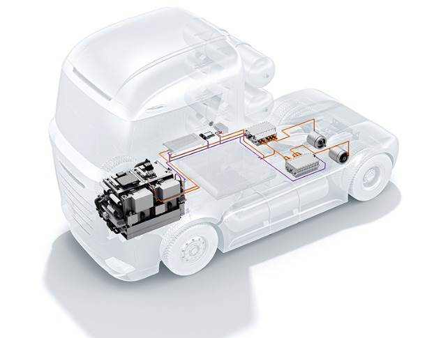Bosch is developing the fuel-cell powertrain primarily with a focus on trucks, and the company plans to start production in 2022–2023.