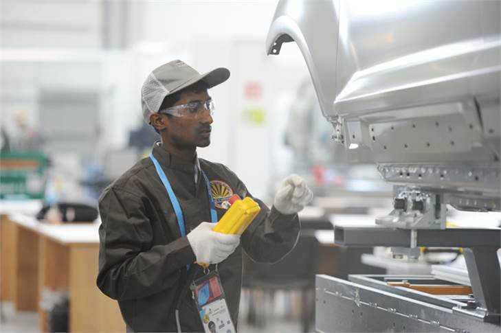 Suraj, who won a Medallion for Excellence in Auto Body Repair, showcasing his skills at Kazan 2019.