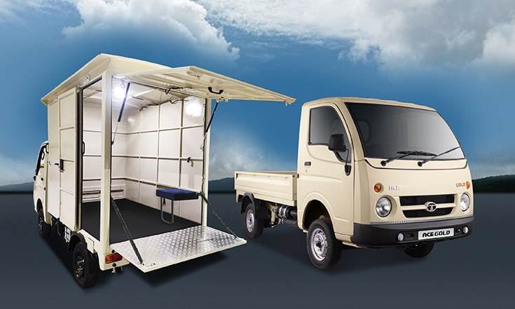 The Ace Gold small CVs will be used as mobile dispensing units for doorstep delivery of supplies in Andhra Pradesh, and will be customised by Tata Motors to suit various applications.
