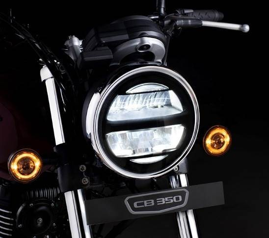LED headlamps continue the retro-modern design theme adopted by the company on the Hness CB 350.
