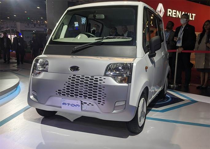 "Mahindra has billed the ATOM as ""a new-age electric urban mobility solution for Smart India's last mile connectivity needs."""