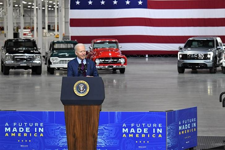 President Biden at the Ford Rouge Electric Vehicle Center in Dearborn, where the F-150 Lightning, the electric version of Ford's best-selling F-150 truck, will be built. (Photo by Sam VarnHagen.)