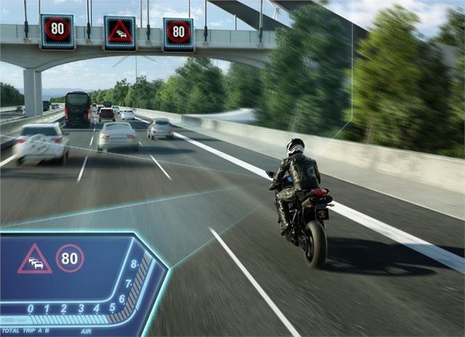 Traffic Sign Assist: A camera detects speed limits using and informs the rider of the maximum permissible speed.