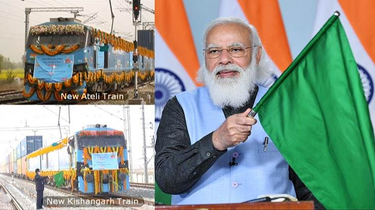 Prime Minister Narendra Modi flags off the world's first double-stack long haul 1.5 km-long container train from New Ateli to New Kishangarh,  at the dedication of the Rewari - Madar section,