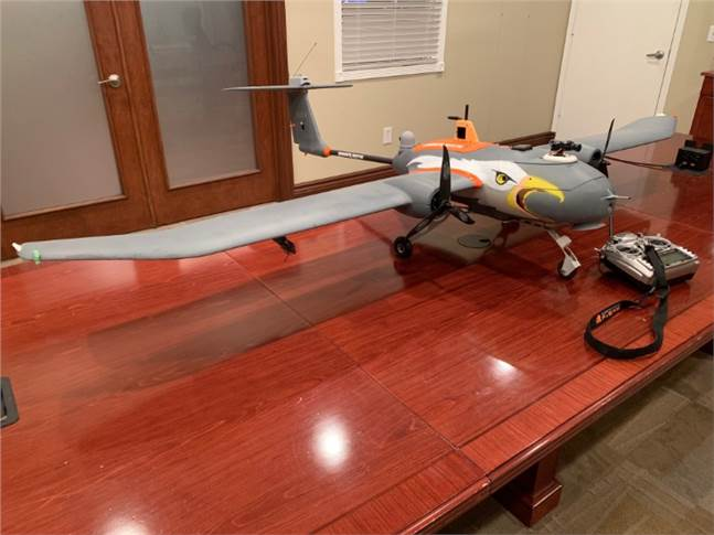 To keep birds away from airport runways, DEP hasdesigned and developed a 7-foot fixed-wing drone that has an ultrasonic emission device, an audible sound emitter, and a camera.