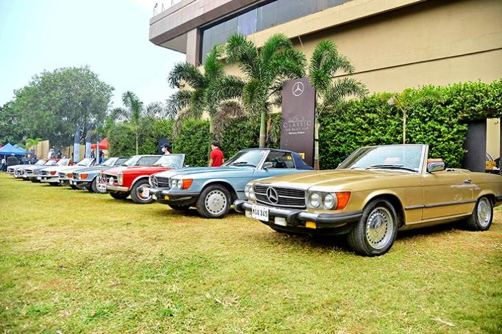 The participants included every generation of the Mercedes-Benz SL, S-Class and E-Class in almost every body style.