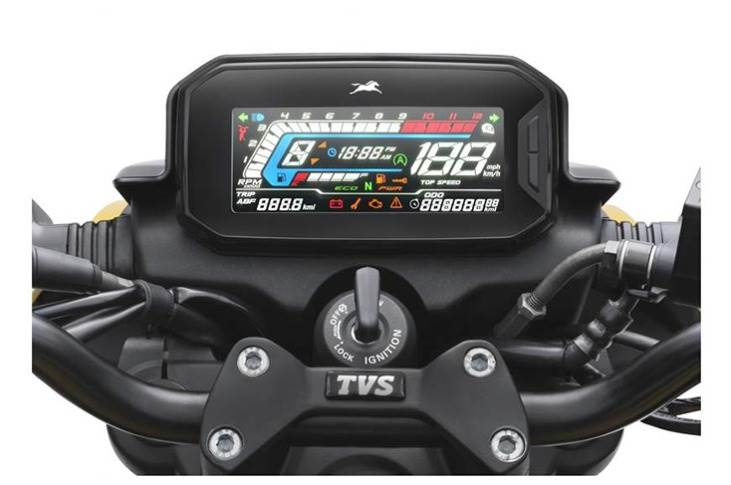 Fully digital instrument cluster offers all the basic readouts as well as a gear position indicator.