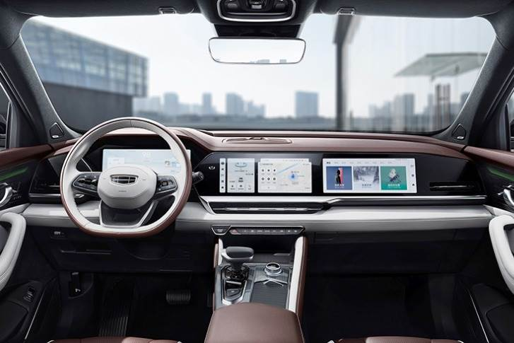 Geely Auto's new Xingyue L flagship SUV with intelligent cockpit solution developed by Visteon, ECARX and Qualcomm.
