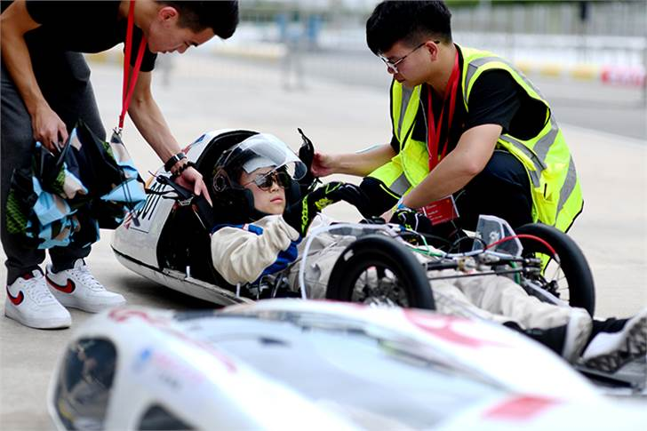: Team HuaQi-EV, race number 301, from Guangzhou College of South China University of Technology, China, competing in the Prototype - Battery Electric category during Day 2.