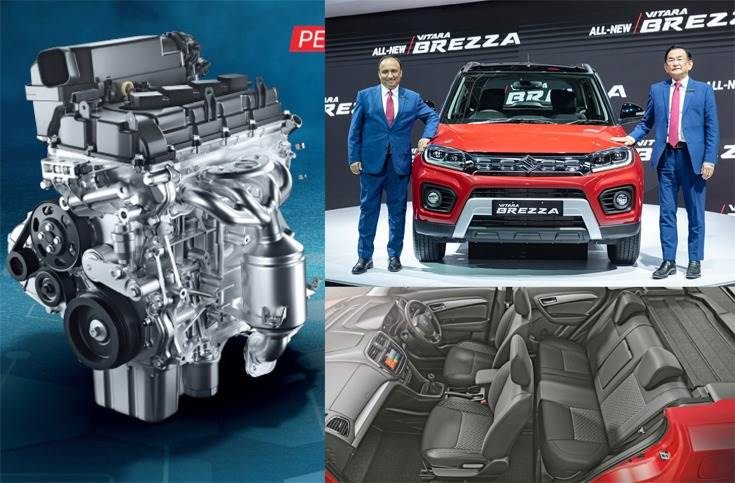 Maruti Vitara Brezza finally gets petrol power: 105hp and 138Nm from 1.5-litre BS VI K15B engine; 5-speed manual delivers 17.03kpl efficiency while automatic with mild-hybrid tech gives 18.76kpl; MD and CEO Kenichi Ayukawa with Shashank Srivastava, ED (Marketing & Sales). New interior trim.