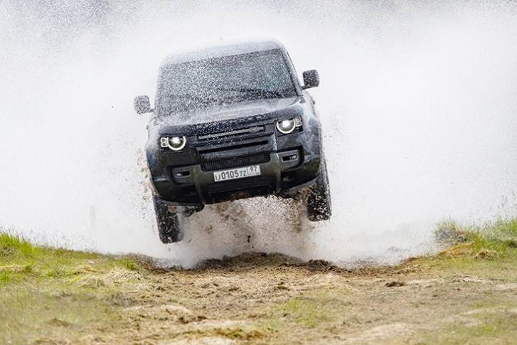 The New Land Rover Defender in action, in