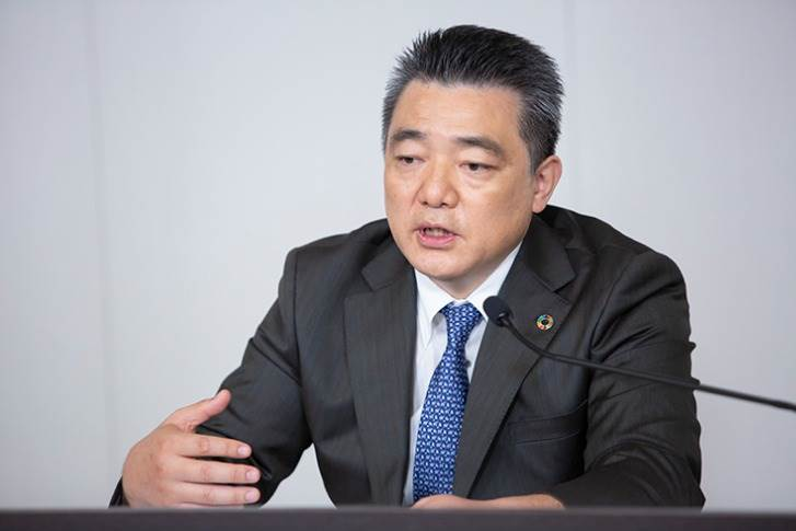 """Chief Technology Officer Masahiko Maeda: """"Through integrated development of vehicles and batteries, we aim to reduce the battery cost per vehicle by 50% compared to the Toyota bZ4X in the second half of the 2020s."""""""