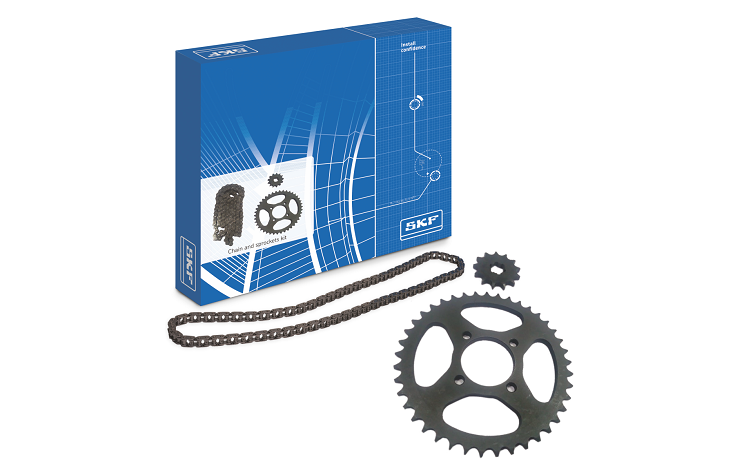 SKF chain and sprockets for two-wheeler.