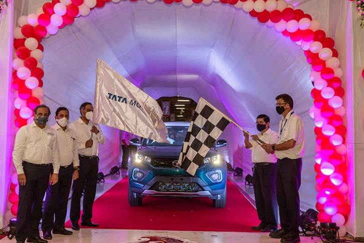 Tata Motors' four-millionth passenger vehicle – a Nexon EV – flagged off from its manufacturing plant in Pune.