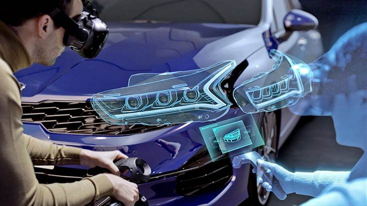 VR headsets allow the brands' vehicle designers and engineers to virtually enter developmental simulations, with 36 motion tracking sensors detecting and tracking the locations and movement of all users, enabling each to participate accurately in real time.