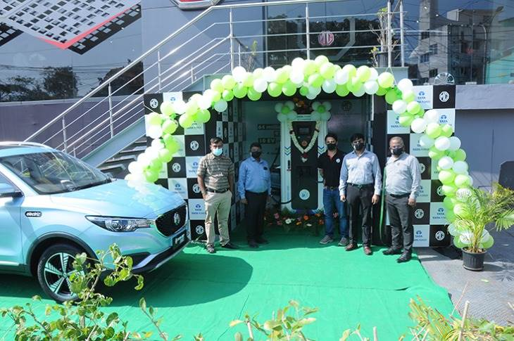 The 50 kW Superfast public EV charging station in Chennai. It can charge an MG ZS EV from to 80% in 50 minutes.