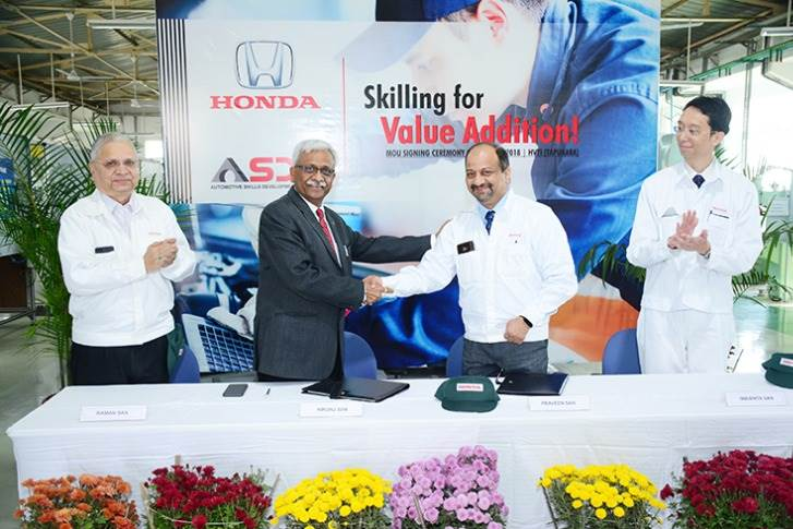 On December 4, 2018, Honda Cars India signed an MoU with ASDC for accreditation of its premiere training centre – Honda Vocational Training Institute --in Tapukara, Alwar, Rajasthan.