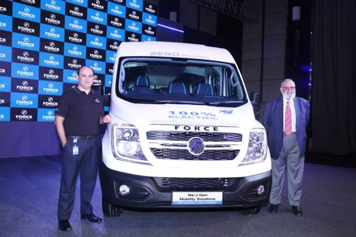 Dr Abhay Firodia, chairman and Prasan Firodia, MD Force Motors, with the new electric van.
