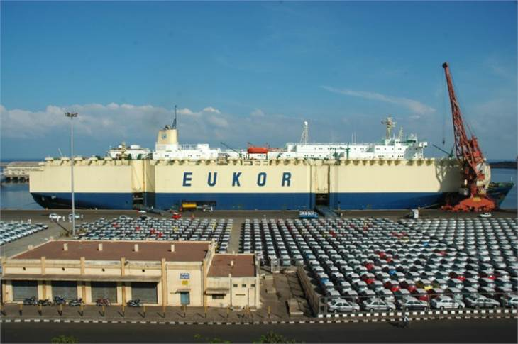 An export consignment of Hyundai cars at the Chennai Port. Hyundai Motor India is the largest passenger vehicle exporter in India.