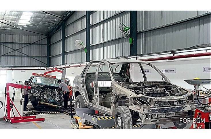 A couple of cars get the scrappage treatment at the CERO plant in Greater Noida. Scrapping of old vehicles leads to recovery of many metals, especially steel which makes up 65-70 percent of a vehicle.