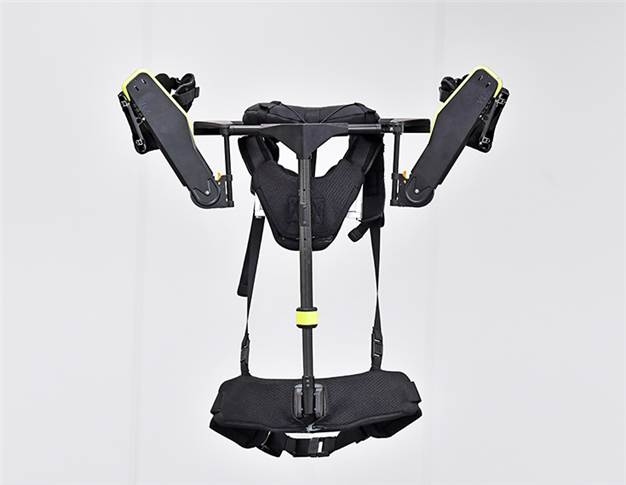 At 2.5kg, VEX weighs 22-42% less than competing products and is worn like a backpack. The user places their arms through the shoulder straps of the vest, then fastens the chest and waist buckles.