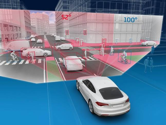 The wider field of view of the S-Cam 4.8 has advantages especially in sharp curves or at crossroads. It can identify significantly more vehicles, and importantly detect vulnerable road users.