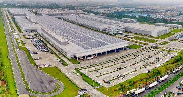 An aerial shot of the Luqiao manufacturing facility in China. The Luqiao plant is owned by Zhejiang Geely Holdings but operated by Volvo Cars