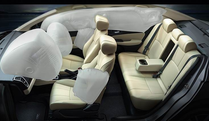 New Honda City with four airbags (dual front and side) as standard across its three variants. Higher VX and ZX trims get six airbags.