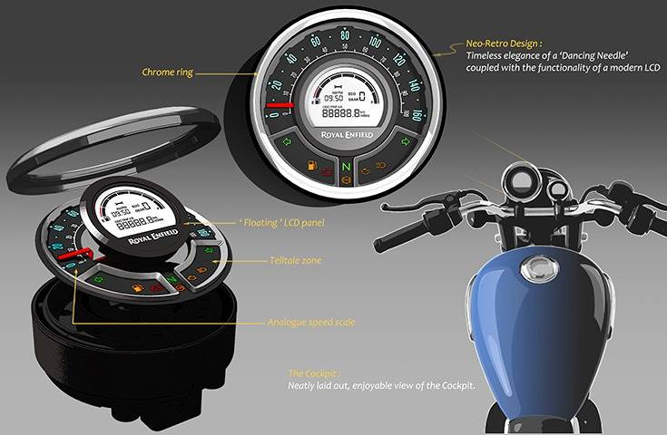 Royal Enfield has incorporated a new semi-digital instrument cluster along with a separate pod for a colour TFT display.