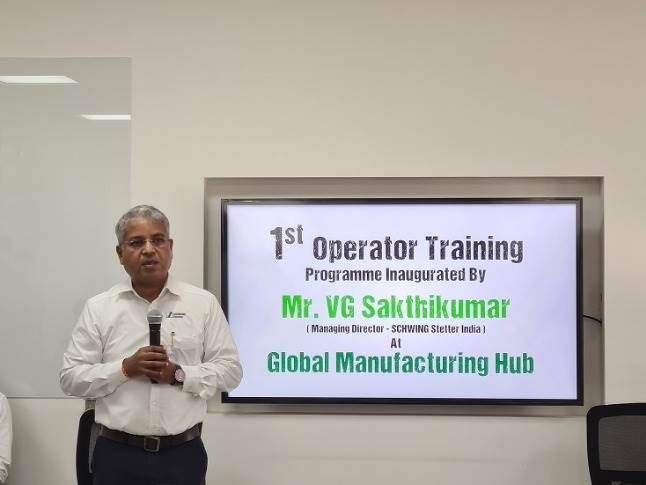 """V G Sakthikumar, MD, Schwing Stetter India said, """"Over the past 20 years, we have successfully trained close to 14,000 plus individuals in handling concreting machinery."""""""