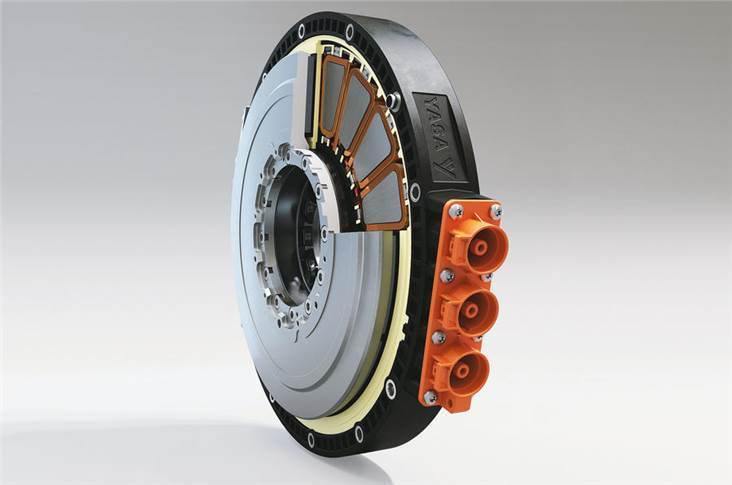 Axial flux motors like this Yasa P400 series can be integrated with combustion engines for hybrids or used alone for EVs. It was used to power the Jaguar C-X75 concept and the Koenigsegg Regera.