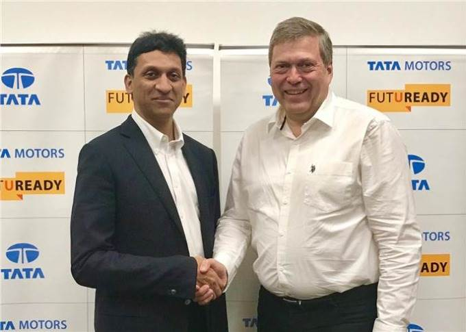 L-R: J Anand, MD, Jayem Automotives, with Guenter Butschek, CEO and MD, Tata Motors, had announced the JV on March 31, 2017.