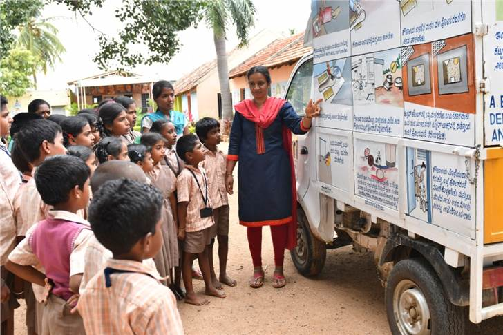 School children being educated about the importance of hygiene and sanitation.