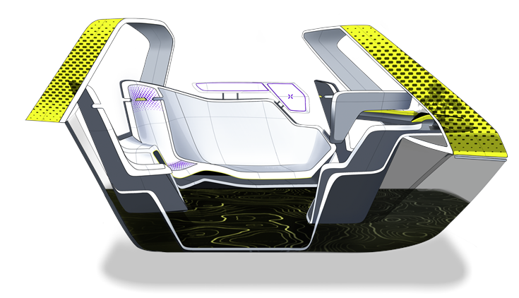 The interior layout defines two functional areas: the first is dedicated to the driver, in a more central position compared to the traditional layout of a car; the second, in the back, is reserved for 5 passengers, with a lounge couch configuration.