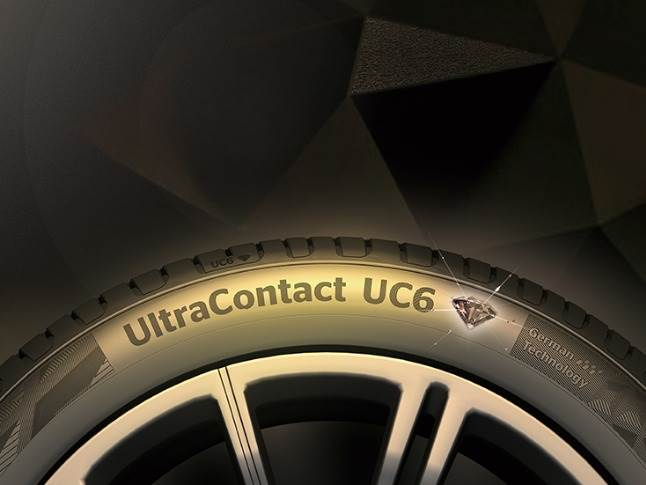 Continental says the chamfered angle of the diamond edge in the tyre pattern maximises the contact area of the pattern to distribute the braking forces more evenly while braking.