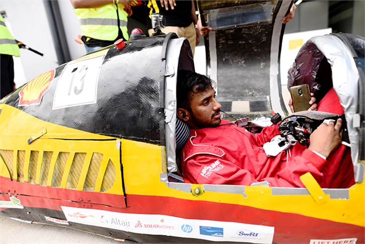 Team Eco Titans, race number 13, from VIT University, India, competing in the Prototype - Gasoline category during Day 3.
