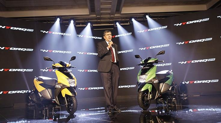 KN Radhakrishnan, President & Chief Executive Officer, TVS Motor Company, at the NTorq launch on February 5, 2018 in New Delhi.