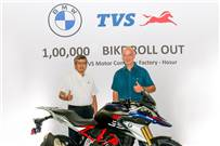 L-R: KN Radhakrishnan, director & CEO, TVS Motor Co and Rainer Baumel, head - Products, 1-, 2-Cylinder and Urban Mobility, BMW Motorrad with the 100,000 BMW motorcycle rolled out from the Hosur plant.